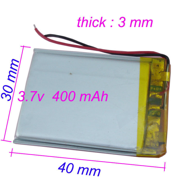 High Capacity 3.7v 400mah Lithium Polymer Battery 303040 for GPS Bluetooth