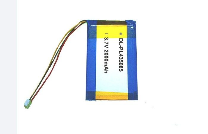 435085 Li Polymer Battery 3.7V , External Portable Lithium Battery 2000mah With Connector